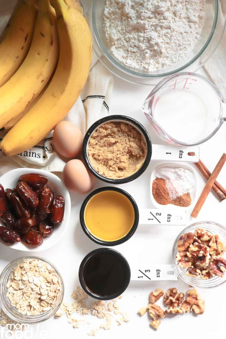 Ingredients for banana date bread.