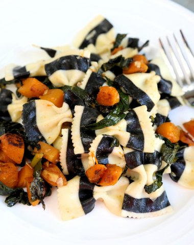 Black & White Farafalle with Butternut Squash & Kale