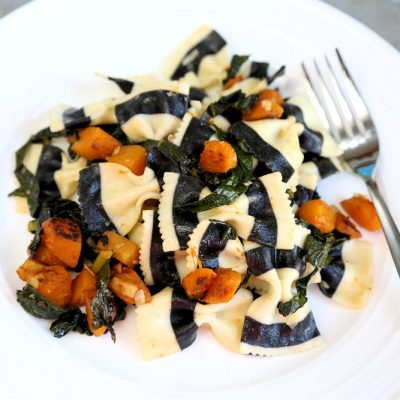 Vegetarian Halloween Dinner: Black & White Striped Farfalle with Butternut Squash and Kale