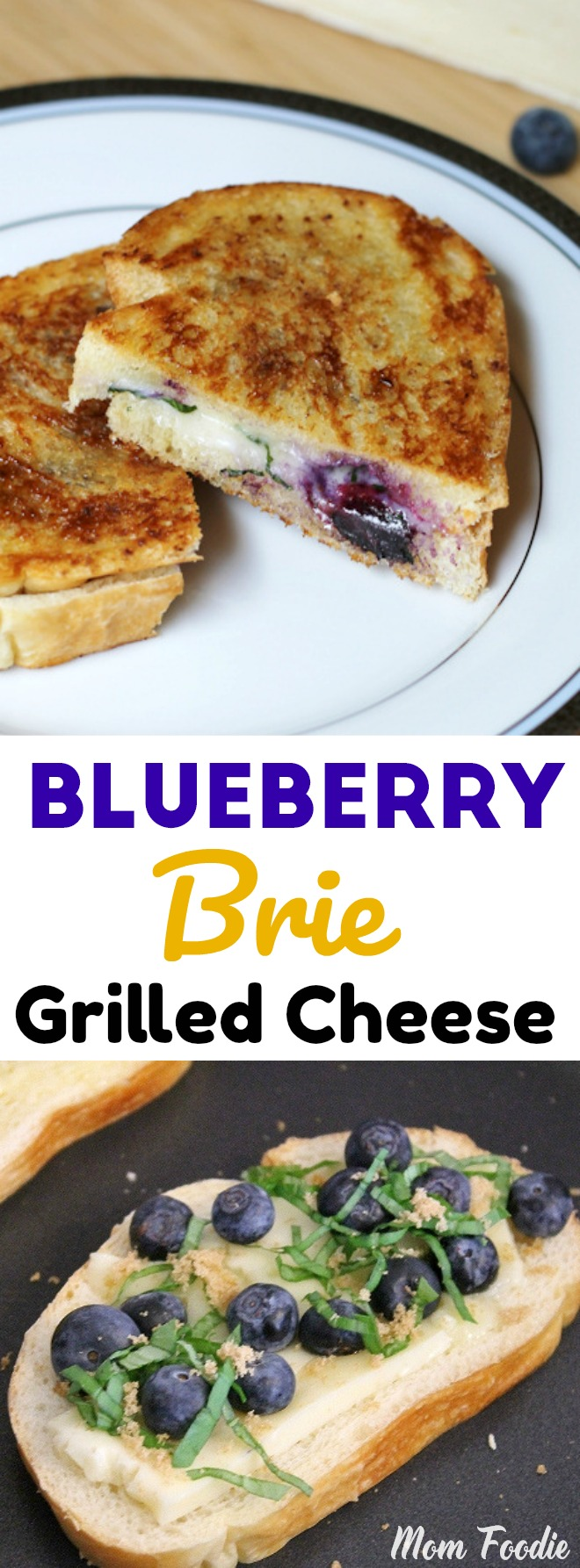 Blueberry Brie Grilled Cheese with basil and brown sugar