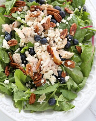 Blueberry Chicken salad with feta and pecans