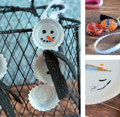 Bottle Cap Snowmen Ornaments DIY