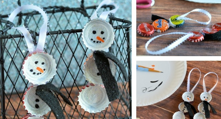 Bottle Cap Snowmen Ornaments DIY