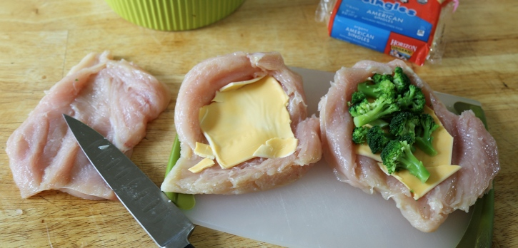 Broccoli Cheese Stuffed Chicken preparing