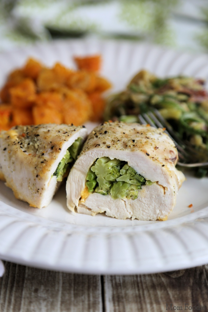 Broccoli Cheese Stuffed Chicken with Butternut Squash and Creamy ...