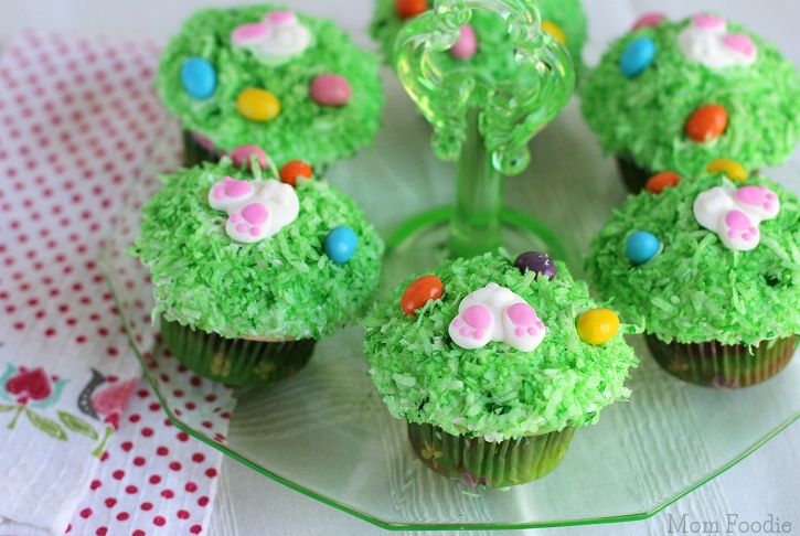 Bunny Tail Cupcakes with coconut grass