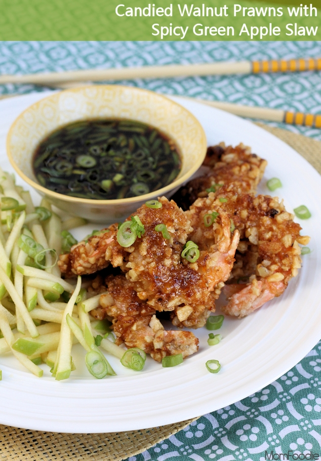Candied Walnut Prawns with Green Apple Slaw and dipping sauce