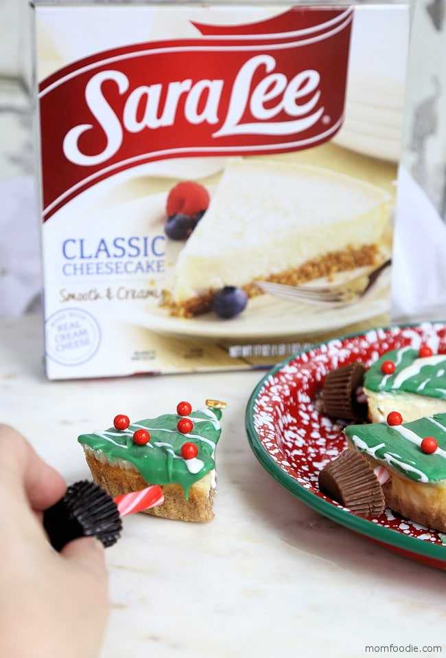 Cheesecake Christmas Trees adding trunk
