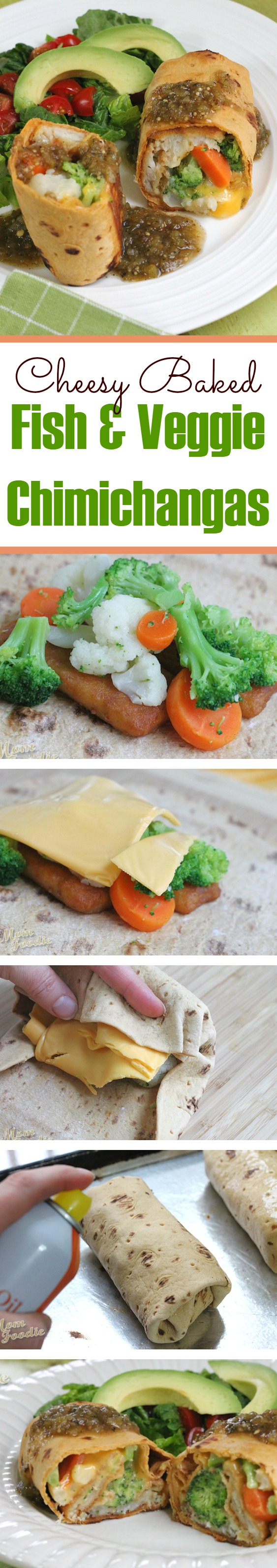Cheesy Baked Fish & Veggie Chimichangas