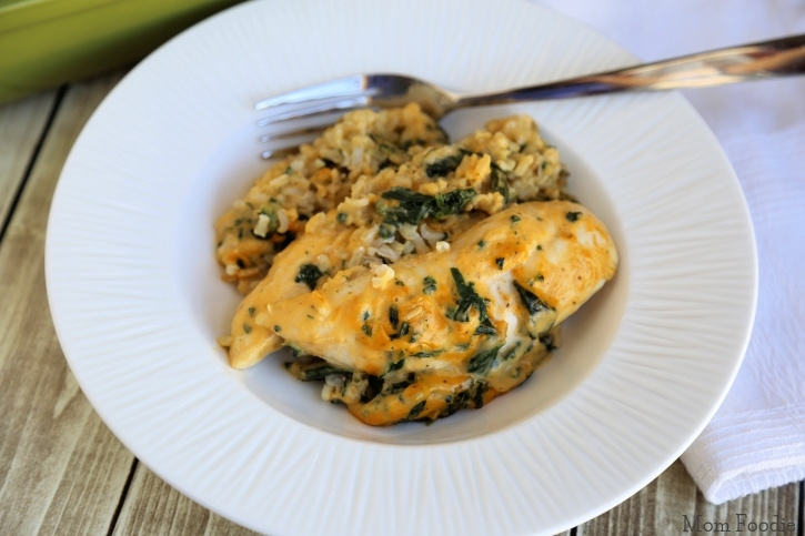 Easy Cheesy Spinach Chicken and Rice Casserole