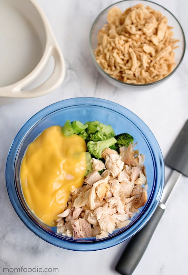 Chicken Broccoli Cheese Casserole mixing