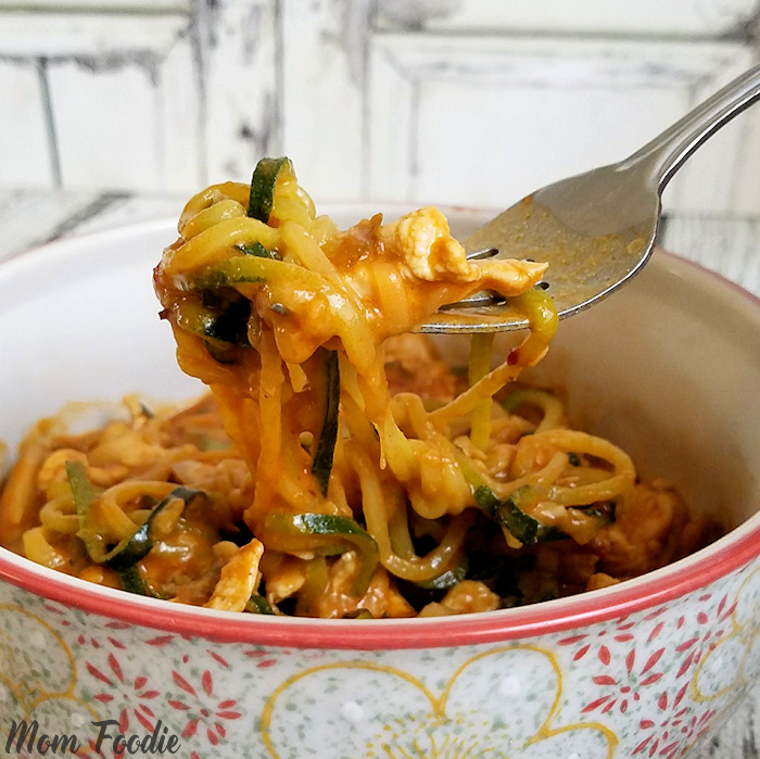 Chicken Zucchini Noodles Recipe in Peanut Sauce