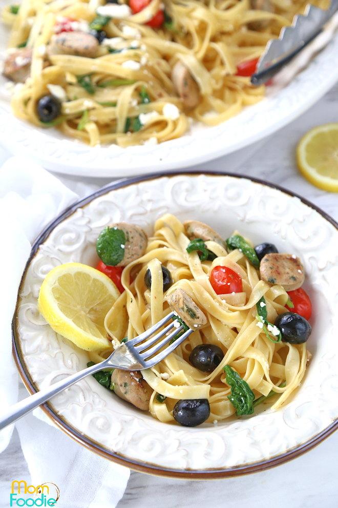Chicken Sausage Feta Spinach Pasta