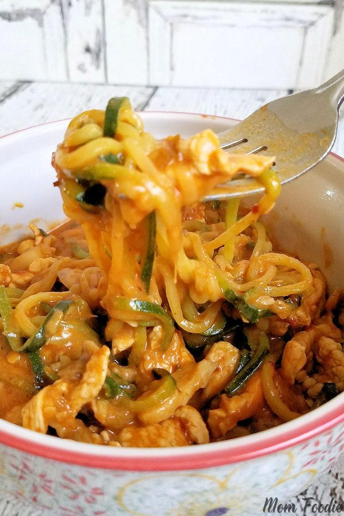 Chicken Zucchini Noodles in Peanut Sauce Recipe