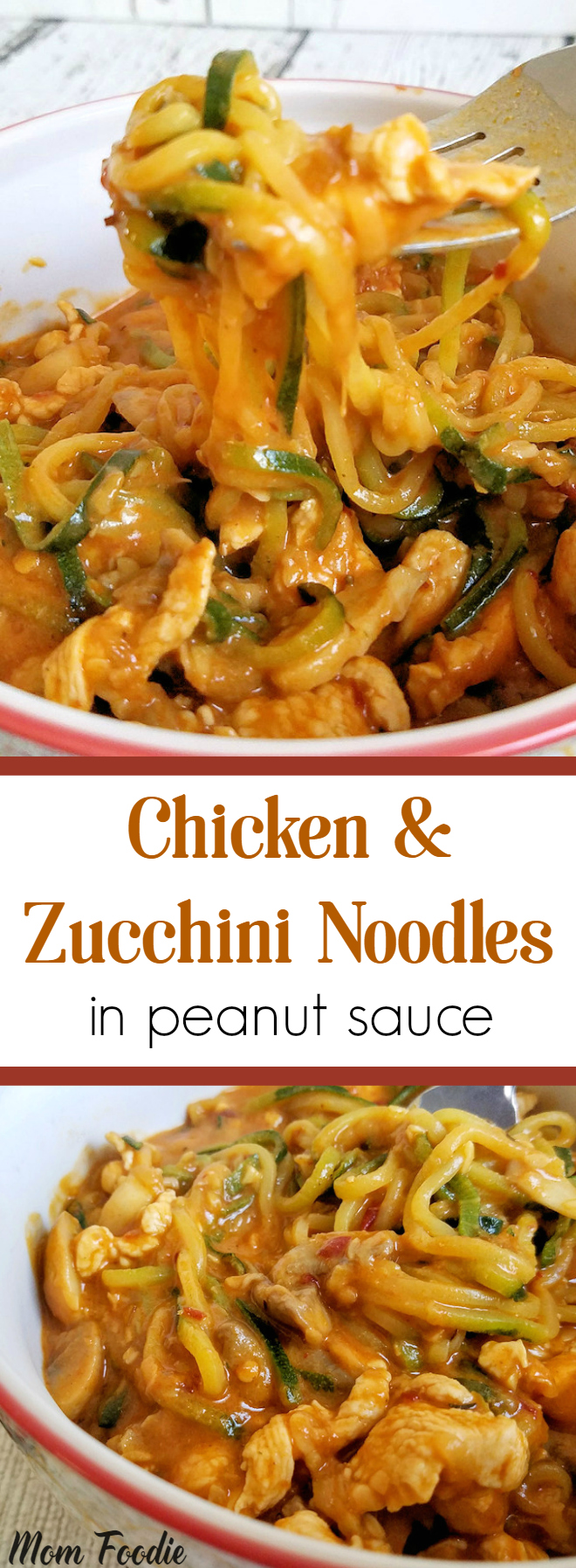 Chicken & Zucchini Noodles in Peanut Sauce - Stir Fry Recipe