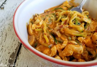 Chicken mushrooms zucchini noodles peant sauce