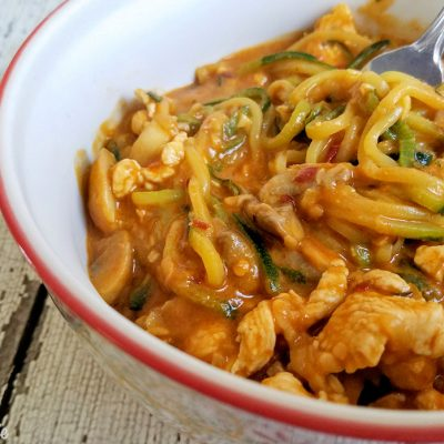 Chicken Zucchini Noodles in Peanut Sauce Recipe