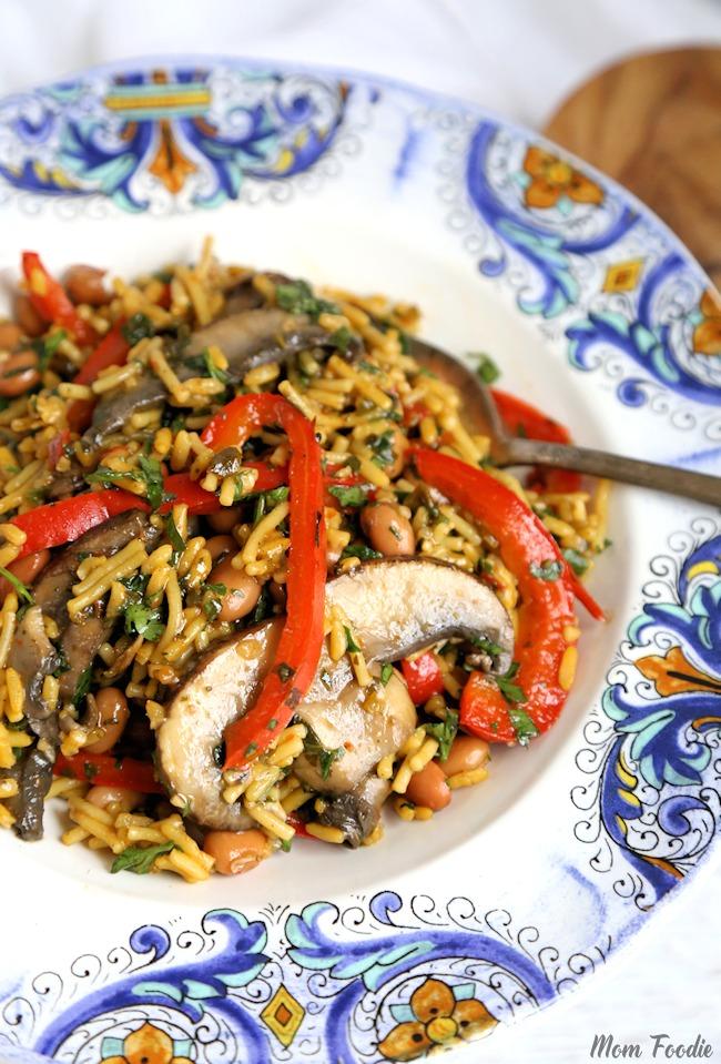 Chimichurri Portabella Mushroom Rice Easy Vegetarian Dinner