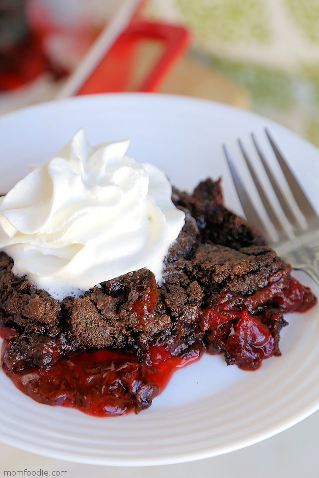 Chocolate Cherry Dump Cake with Fudge Layer