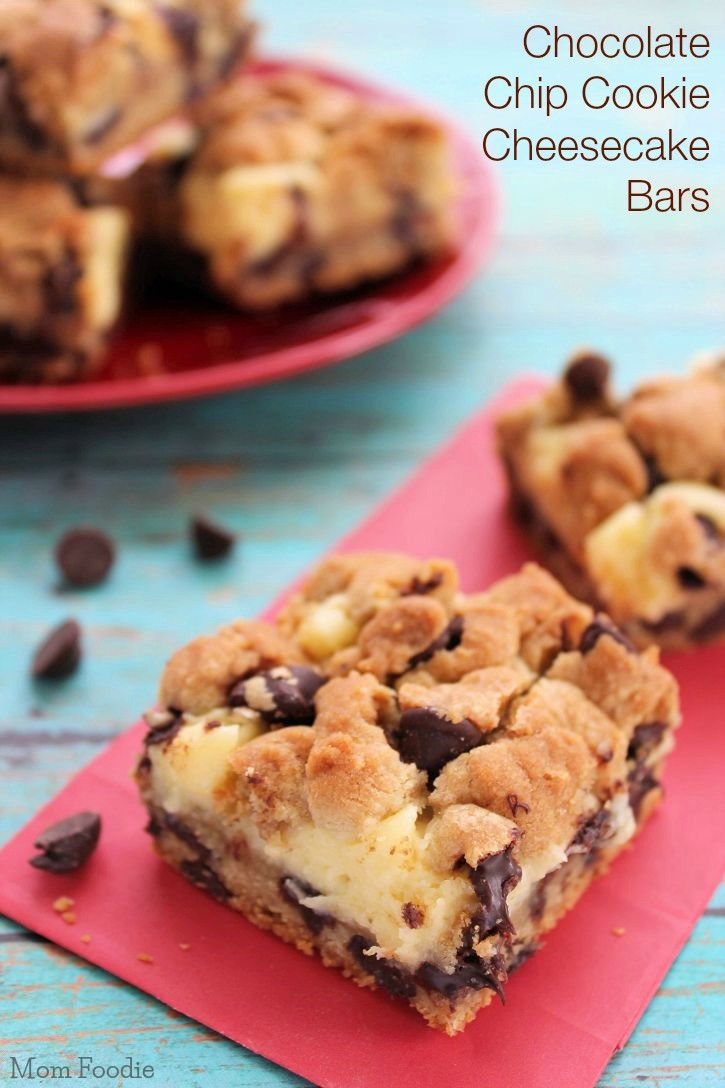 Chocolate Chip Cookie Cheesecake Bars Recipe - Mom Foodie