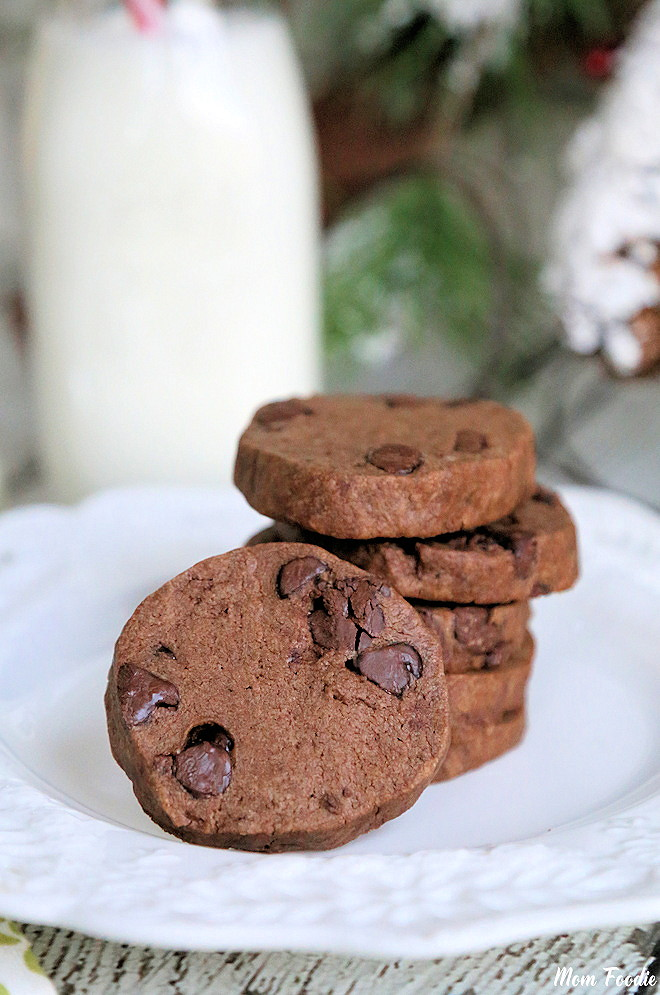 Chocolate Shortbread cookies with Chocolate Chips