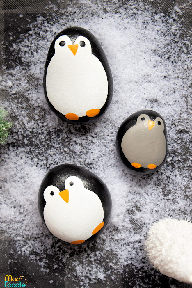 Christmas Painted Rocks Penguins