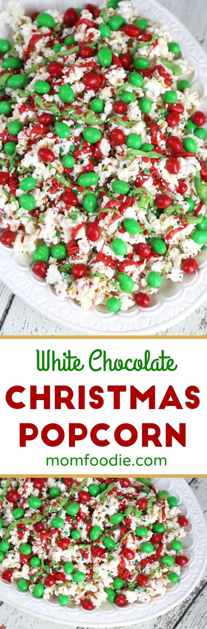Christmas Popcorn recipe #Christmas #popcorn #whitechocolate #holidaysnacks