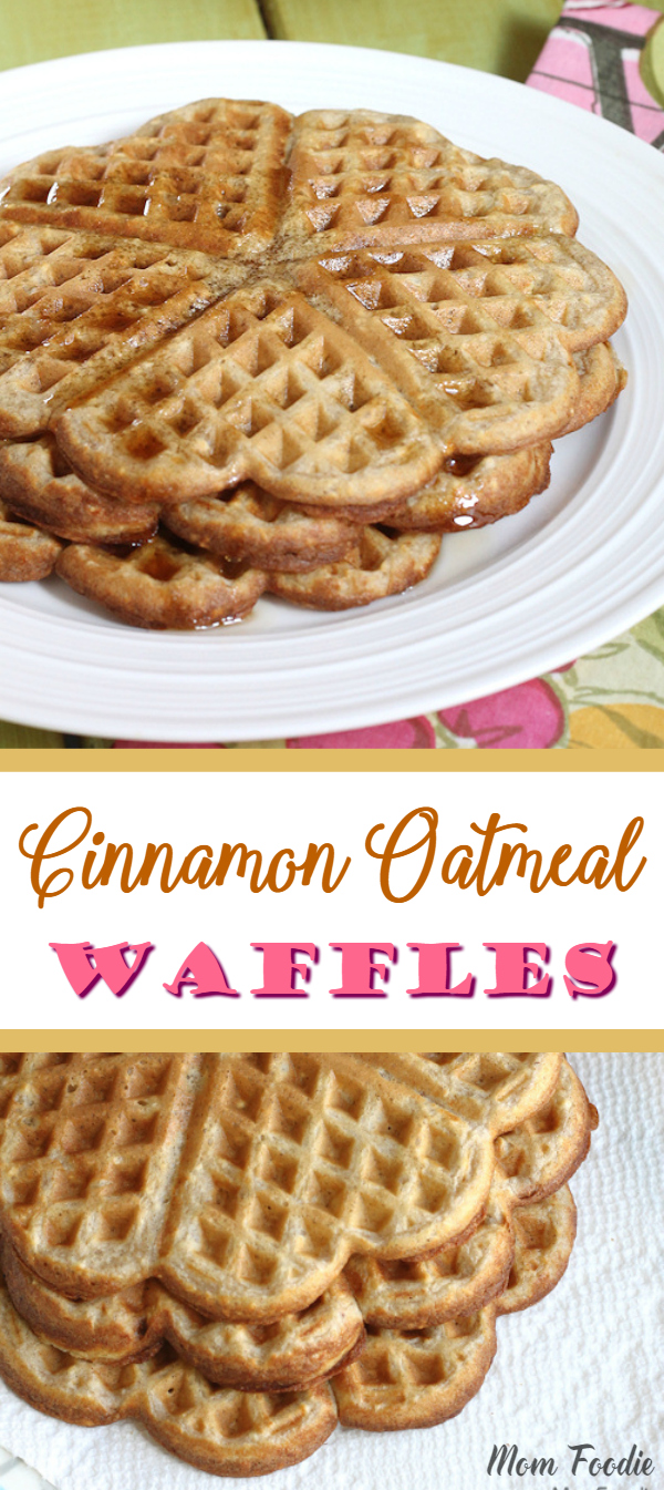 Cinnamon Oatmeal Waffles recipe #waffles #oatmeal #oats #breakfast