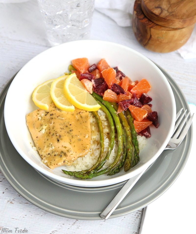 Citrus Salmon Cauliflower Rice Bowl with Asparagus