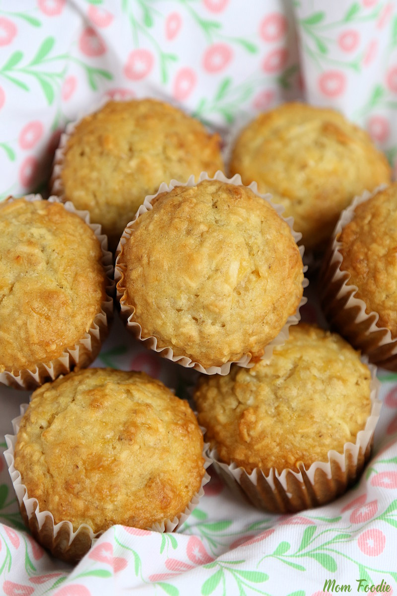 Coconut Pineapple Oatmeal Muffins