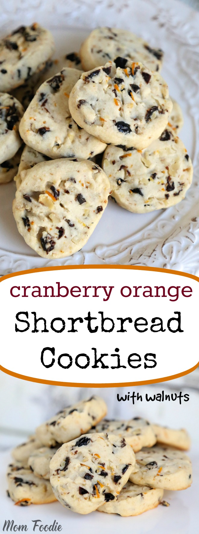 Cranberry Orange Shortbread Cookies with Walnuts recipe