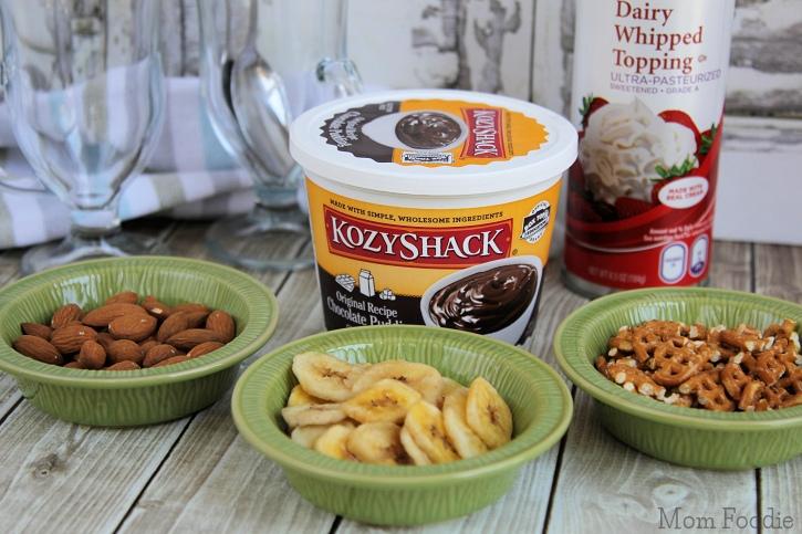 Crunchy Chocolate Banana Pudding Parfait -ingredients
