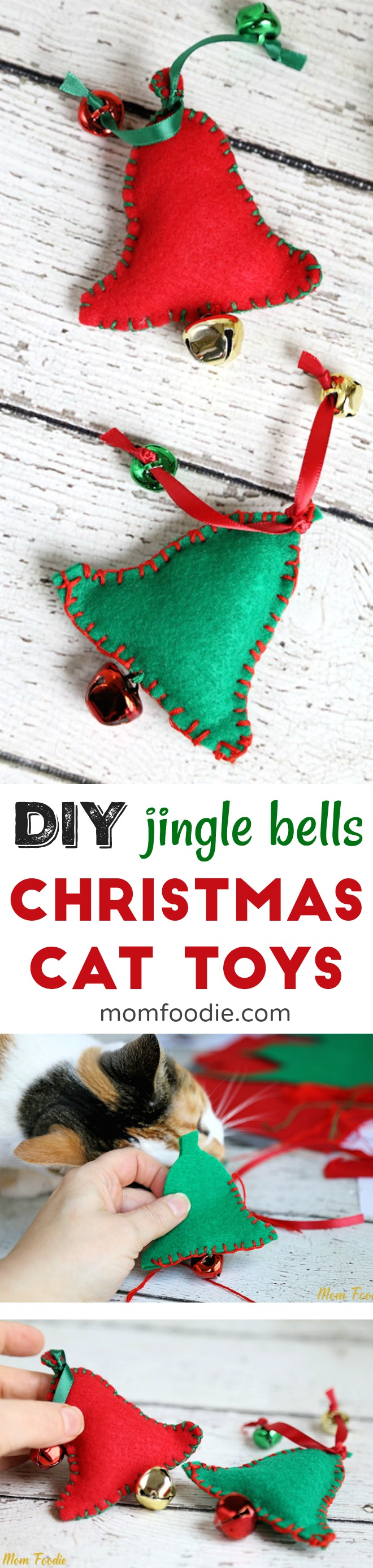 DIY Cat Toys - Homemade cat toys for Christmas in a bell shape with jingle bells.