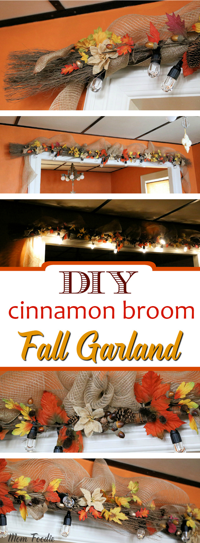 DIY Cinnamon Broom Fall Garland with Cafe Lights