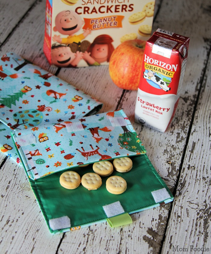 DIY Lined Snack Bags with crackers