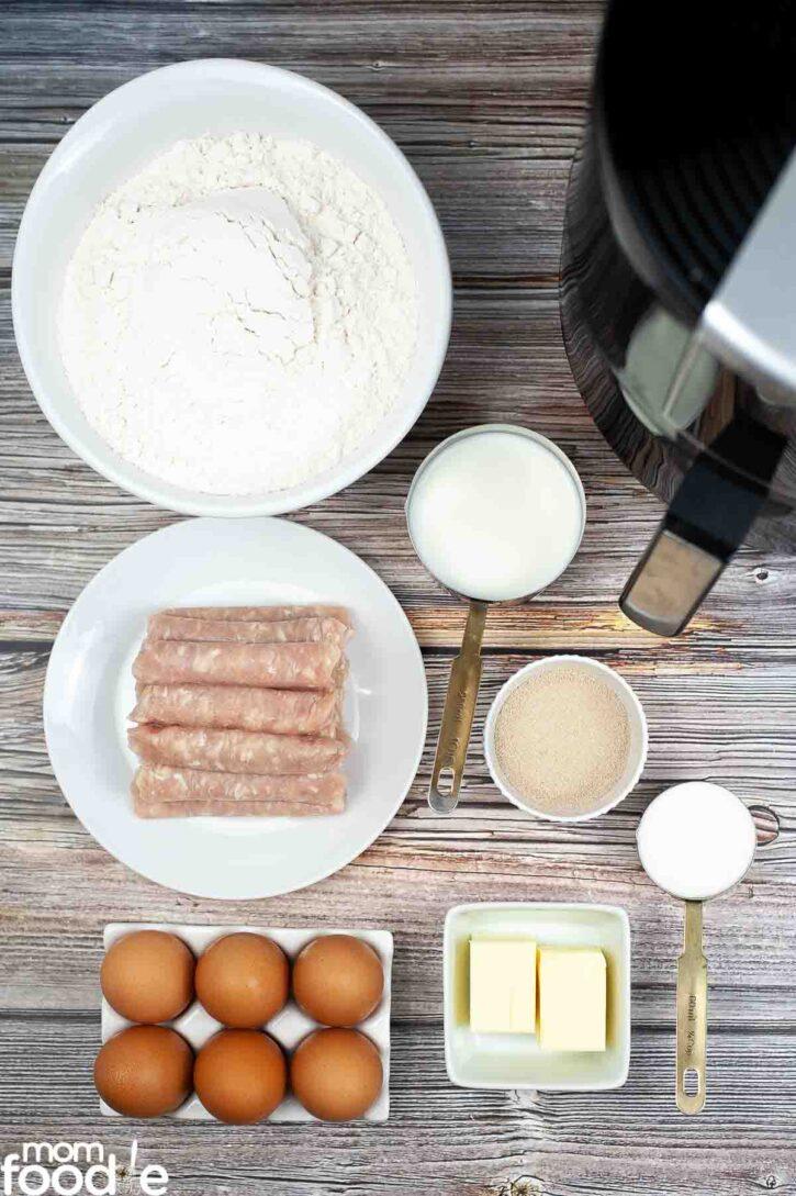 Ingredients for Texas Kolache recipe.