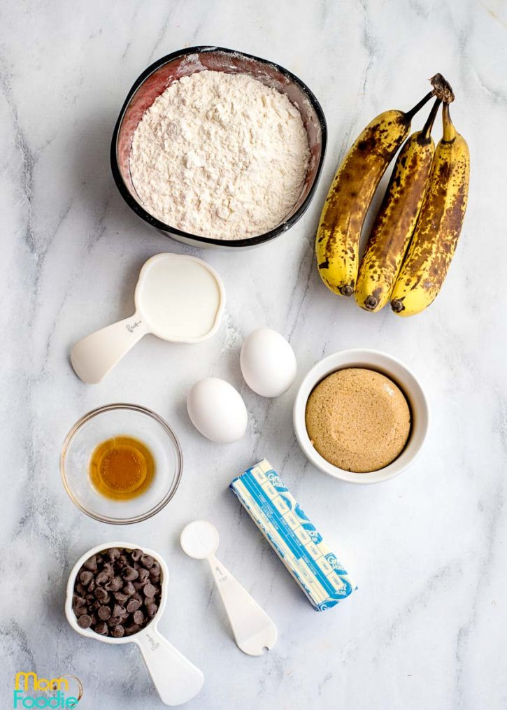 Chocolate Marbled Banana Bread ingredients
