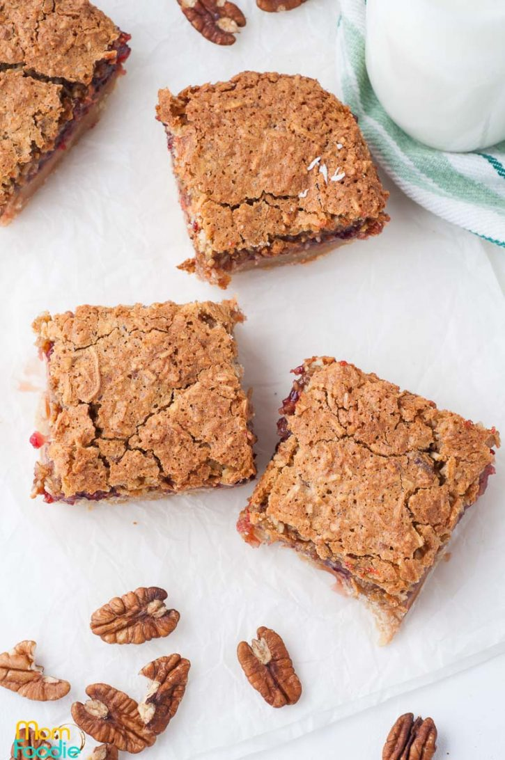 Raspberry Cookie Bars with Coconut and Pecans