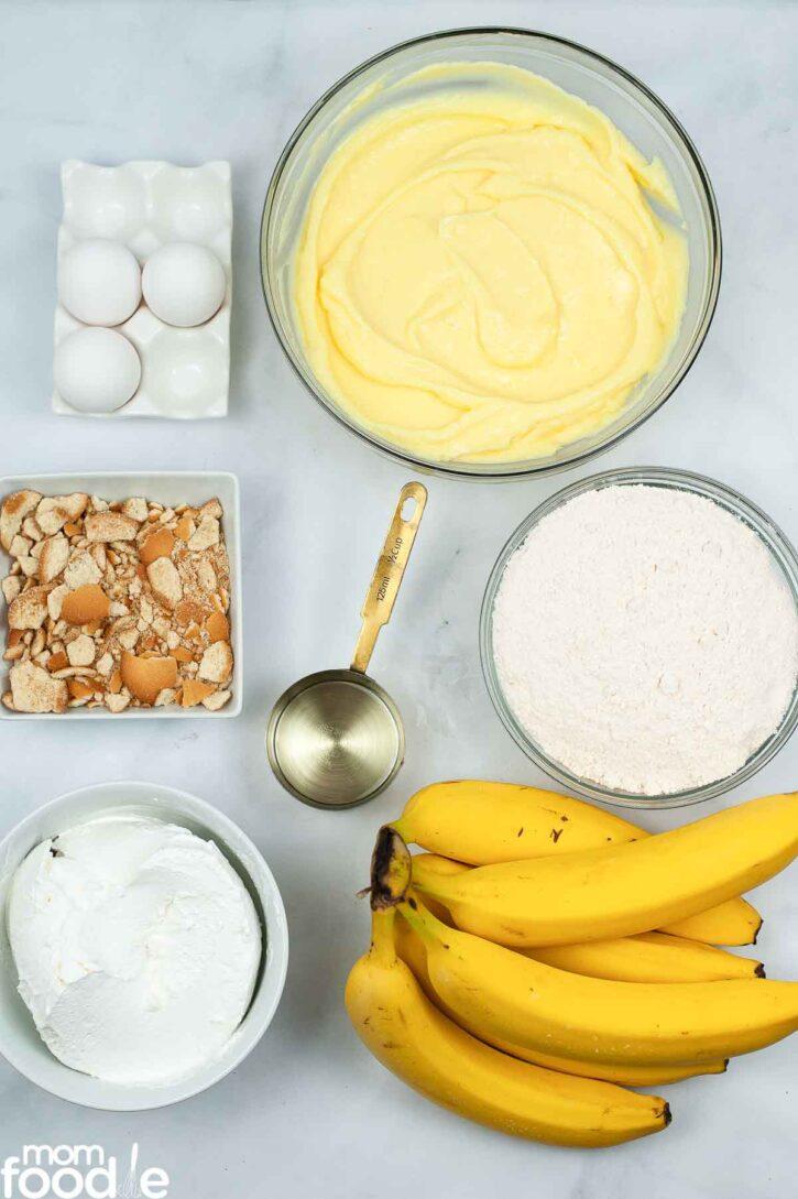 Ingredients for banana pudding poke cake recipe.