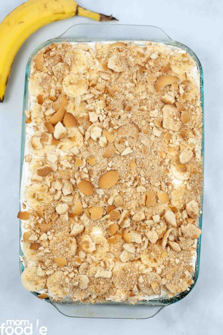Crushed vanilla wafers over cake.