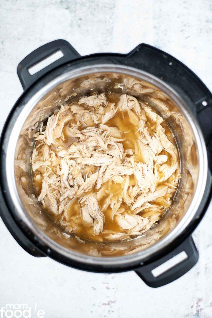 shredded chicken in the pot.