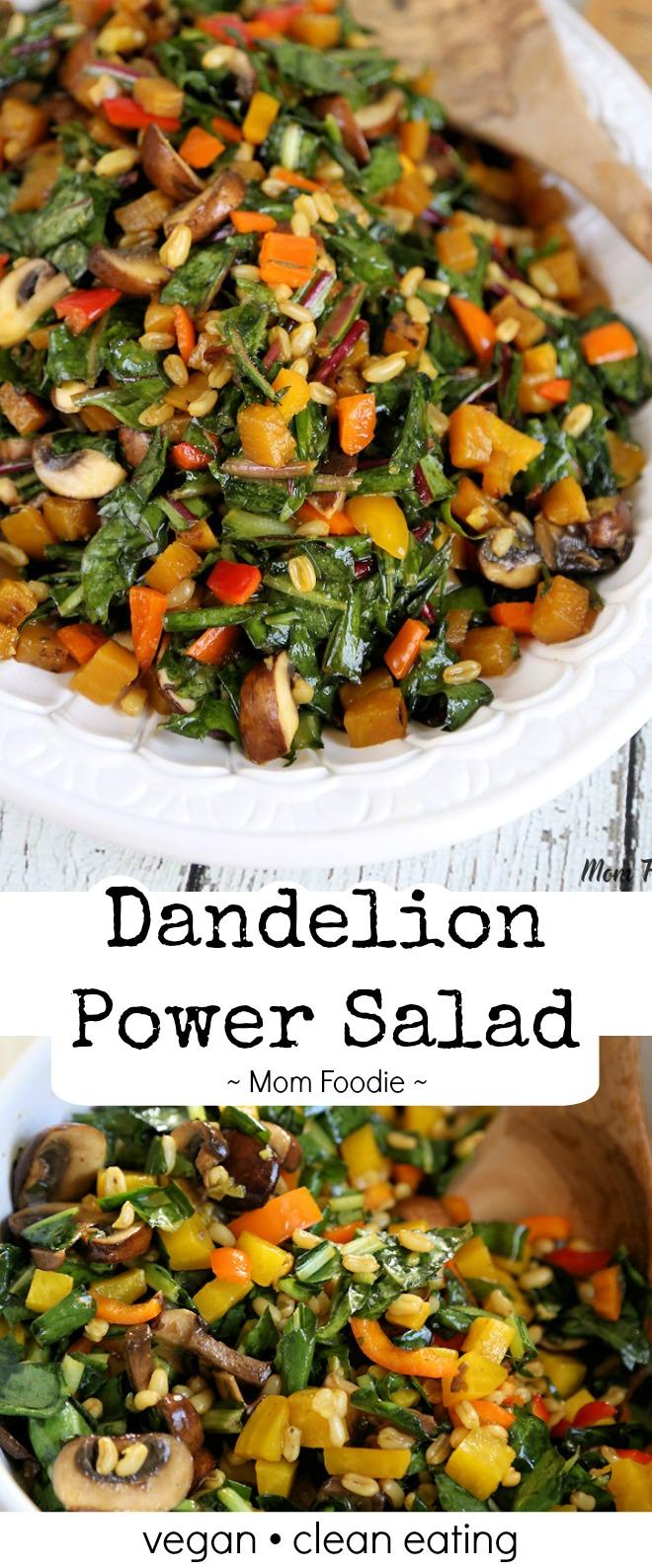 Dandelion Greens salad recipe with golden beets, kamut, mushrooms & sweet peppers - easy dandelion salad dressing