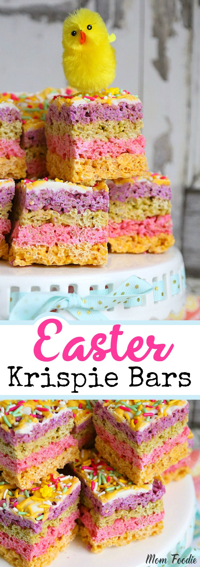 Easter Rice Krispie Treats - Striped Pastel Chocolate Krispie bars