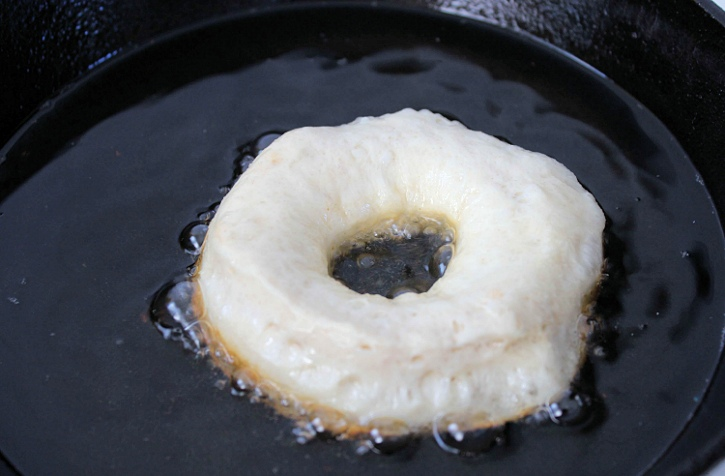 Easy Apple Cider Glazed Donuts - frying