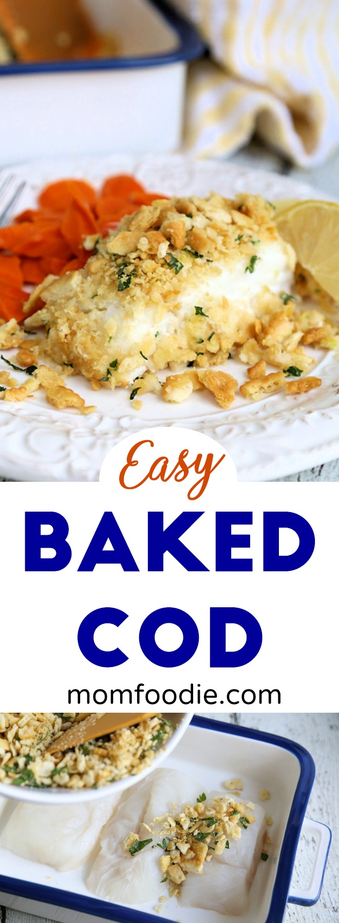 Easy baked cod recipe with ritz cracker topping mom foodie for Easy cod fish recipes