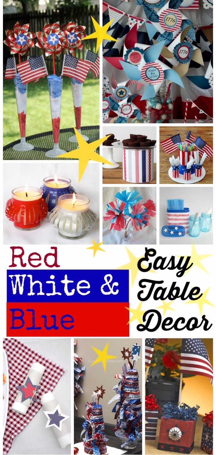 Easy DIY Red White & Blue Table Decorations