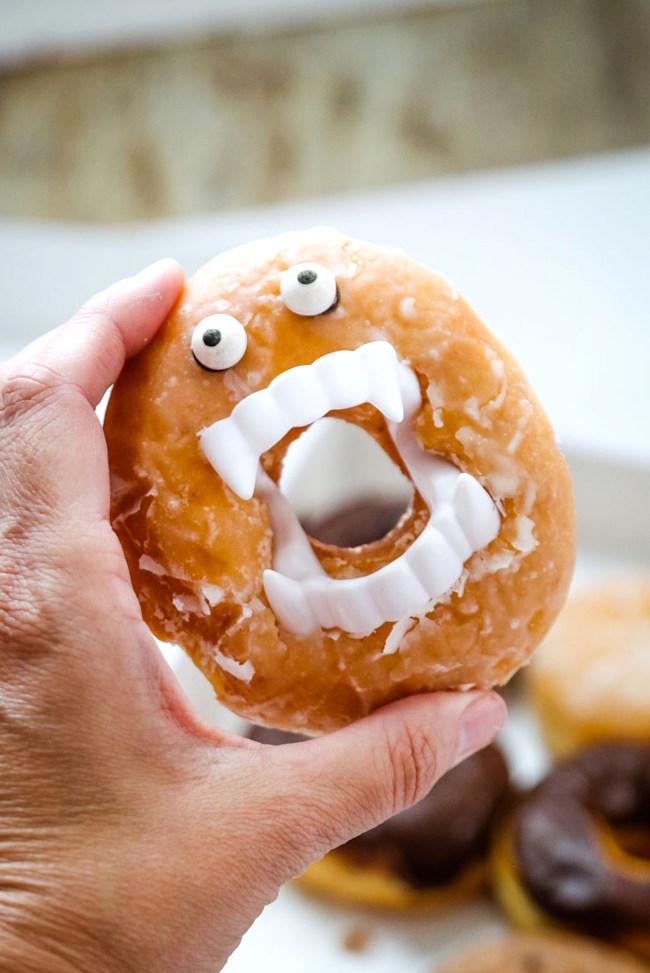 Adding eyes to Halloween donut