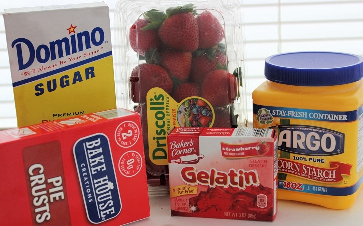 Ingredients for strawberry jello pie