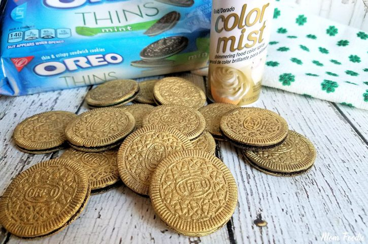 Edible Gold Covered Oreos for St. Patrick's day