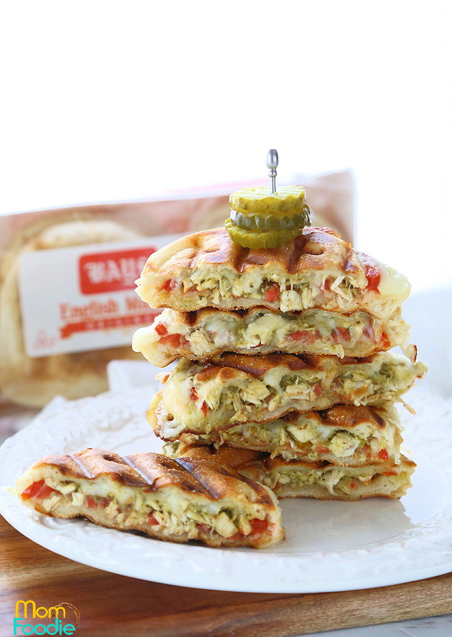 English muffin chicken pesto panini